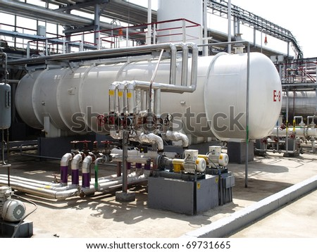 Equipment at an oil refinery facility.