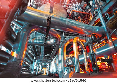 Equipment, cables and piping as found inside of a modern industrial power plant              #516751846