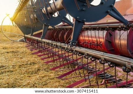 Equipment for agriculture, close-up view of the front of a combine harvester