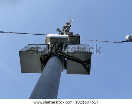 Equipment for cellular communication on the pole. #1021607617