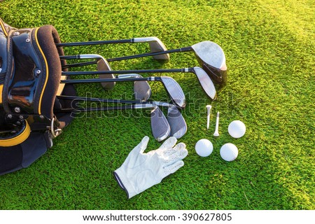 Equipment for playing golf. #390627805