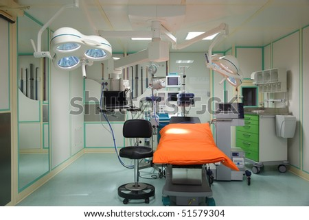 Equipment for the operating room. Special lamps, monitor and desk.