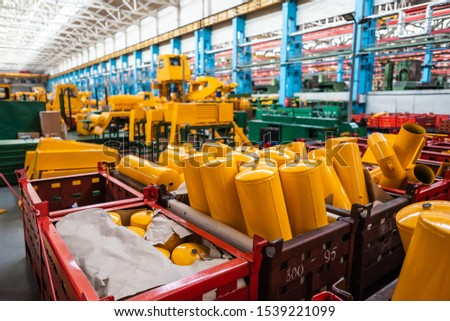 Equipment for the production of cars on the background of production