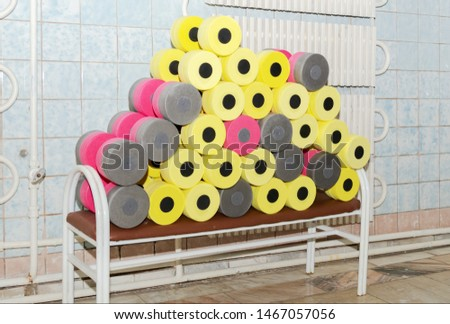 equipment for water aerobics, dumbbells, sports