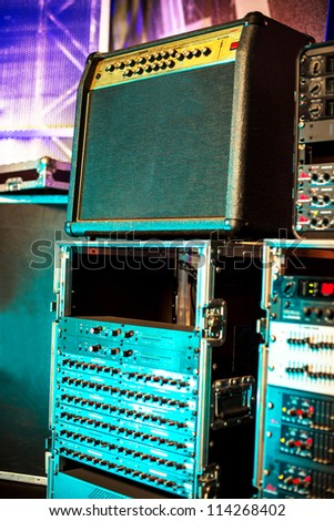 equipment in audio recording studio , a little of DOF. - stock photo