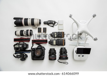 Equipment of a modern photographer with a drone #614066099