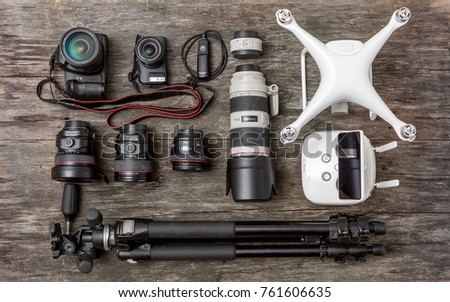 Equipment of a modern photographer with a drone #761606635
