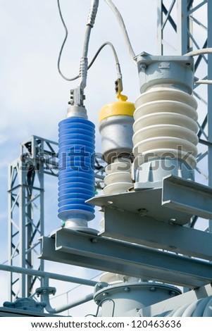 Equipment of high-voltage substation.