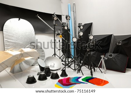 Equipment of studio by various photographic equipment