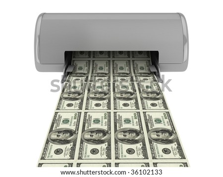 Equipment prints dollars. Isolated on white background