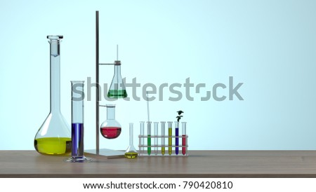 equipment without people science laboratory research and development concept blue background lab develop research Clean modern white laboratory Horizontal template for a poster developer