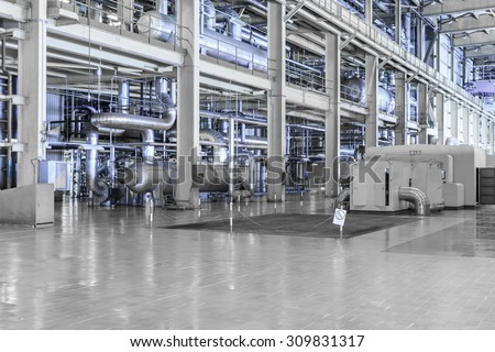 equipments and machinery in a modern thermal power plant