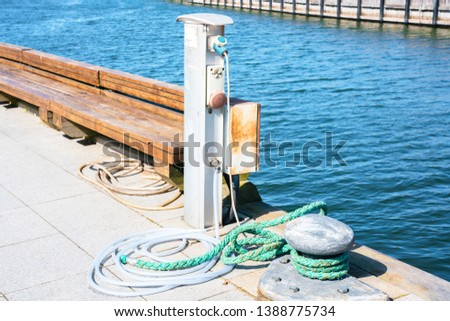 Equipped place for mooring small vessels. Electricity, water, rope and bollard for small vessels. #1388775734