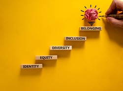 Equity, identity, diversity, inclusion, belonging symbol. Wooden blocks with words identity, equity, diversity, inclusion, belonging on beautiful yellow background. Inclusion, belonging concept.