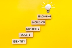 Equity, identity, diversity, inclusion, belonging symbol. Wooden blocks with words on beautiful yellow background. Inclusion, belonging concept.