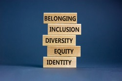 Equity, idenyity, diversity, inclusion, belonging symbol. Wooden blocks with words identity, equity, diversity, inclusion, belonging on beautiful grey background. Inclusion, belonging concept.
