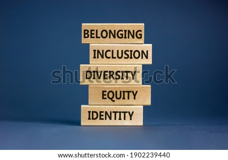 Equity, idenyity, diversity, inclusion, belonging symbol. Wooden blocks with words identity, equity, diversity, inclusion, belonging on beautiful grey background. Inclusion, belonging concept. Foto d'archivio ©