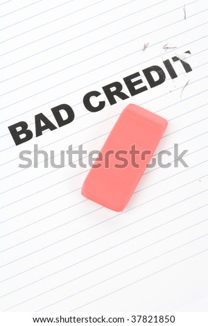 eraser and word bad credit, concept of making change
