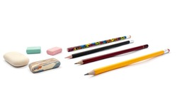 erasers, pencils on a white background
