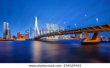 Erasmus Bridge at Twilight, Rotterdam, The Netherlands