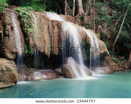 Erawan Falls in the Erawan National Park, Kanchanaburi Province, Thailand
