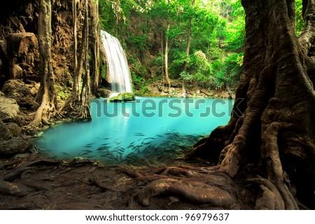 Erawan Waterfall, Beautiful waterfall in Thailand - stock photo