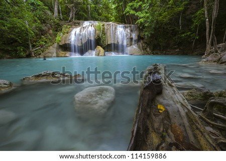 Erawan Waterfall in national park's Thailand