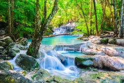 Erawan Waterfall in National Park, Thailand