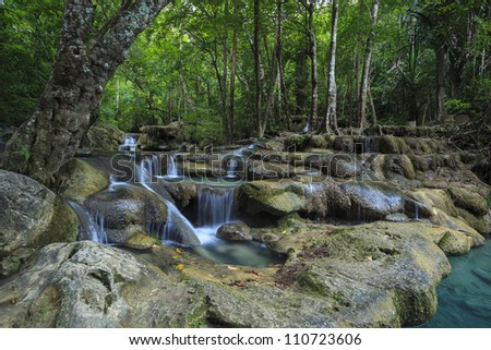 Erawan waterfall in Thailand in deep forest