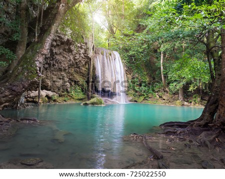 Erawan Waterfall, Kanchanaburi, Thailand. Abundant nature Full of trees And the water is very clear blue water.
