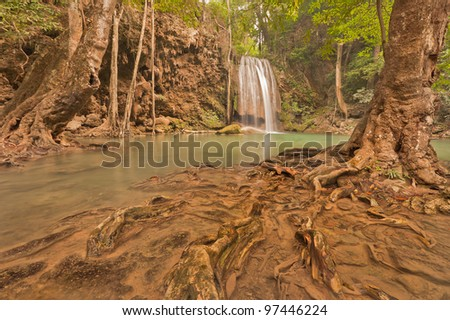 Erawan Waterfall located in deep forest at Kanchanaburi province, Thailand.