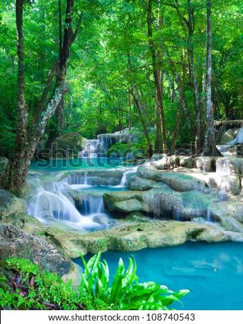 Erawan waterfall Nation Park in Kanjanaburi Thailand