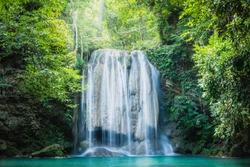 Erawan waterfall, the beautiful waterfall in deep forest at Erawan National Park - A beautiful waterfall on the River Kwai. Kanchanaburi, Thailand