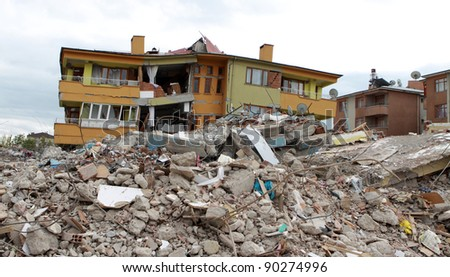 ERCIS, TURKEY-OCTOBER 30: Earthquake damage in Ercis, Van, Turkey. October 30, 2011.