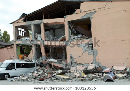 ERCIS, TURKEY-OCTOBER 30: Earthquake damage in Ercis, Van, Turkey. The building was broken in Ercis. October 30, 2011.