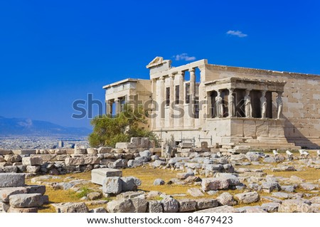 Erechtheum temple in Acropolis at Athens, Greece - travel background
