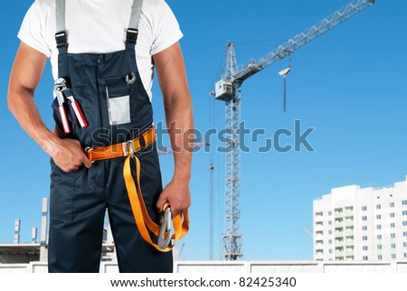 erector closeup on building background
