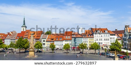 ERFURT, GERMANY - MAY 26: people enjoy visiting the famous market place at dome hill on May 26, 2012 in Erfurt, Germany.