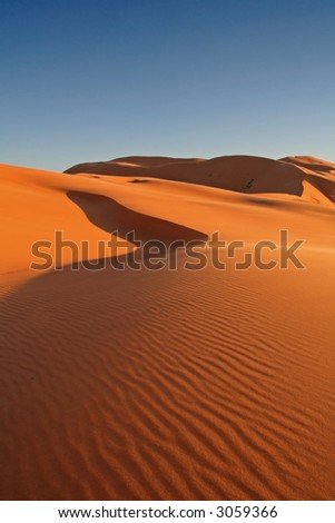 Erg Chebbi sand dunes in the Sahara Desert near Hassi Labiad and Merzouga, Morocco. Algeria is located 20 km from here.