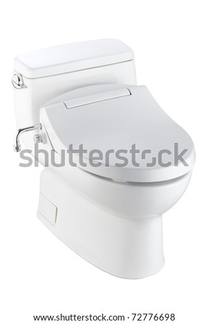 Ergonomic and modern design toilet bowl isolated on white