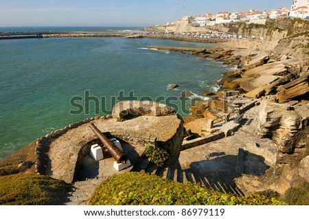 Ericeira, portuguese Atlantic coast. Beach and rocks and good place for surfers