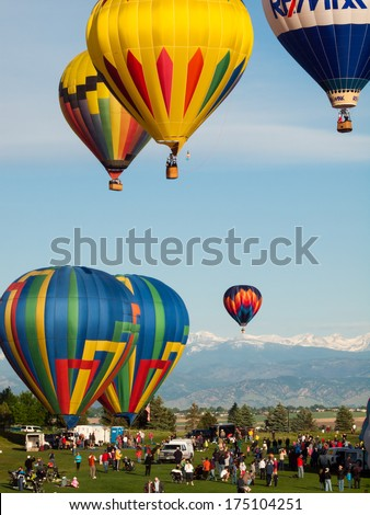 Erie, Colorado-May, 20, 2012: Annual Erie Town Fair and Balloon Festival. The balloon event is part of a day long street fair in the town of Erie. - Shutterstock ID 175104251