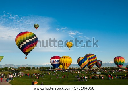 Erie, Colorado-May, 20, 2012: Annual Erie Town Fair and Balloon Festival. The balloon event is part of a day long street fair in the town of Erie. - Shutterstock ID 175104368