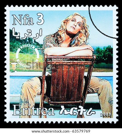 ERITREA - CIRCA 2000: A postage stamp printed in Eritrea showing Madonna Louise Ciccone, circa 2000