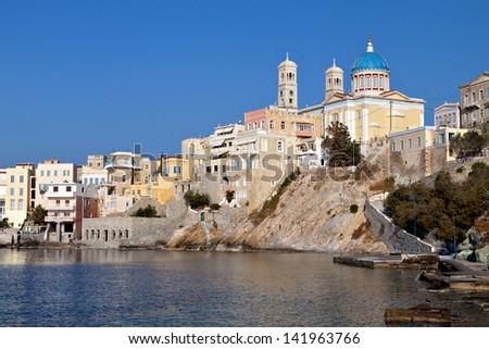 Ermoupolis town at Syros island in Greece. Area of Vaporia