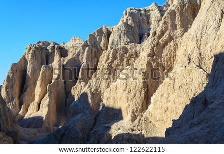 eroded badlands landscape along the Notch Trail at Badlands National Park