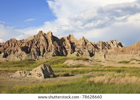 Eroded buttes, Badlands National Park, South Dakota, USA