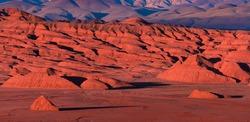 Eroded landscape of Devil Desert (Desierto del Diablo) in Los Colorados area close by Tolar Grande town in the province of Salta in La Puna ecoregion of the Andes in Argentina, South America, America