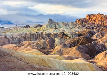 Eroded Mountain Ridges at Zabriskie Point, Death Valley National Park, California, USA #124908482