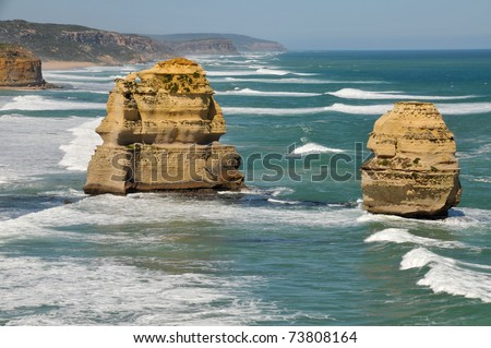 Eroded rock formations at the Twelve Apostles on the Great Ocean Road, Australia - stock photo